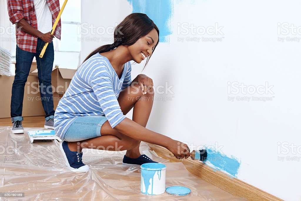 painting house couple stock photo
