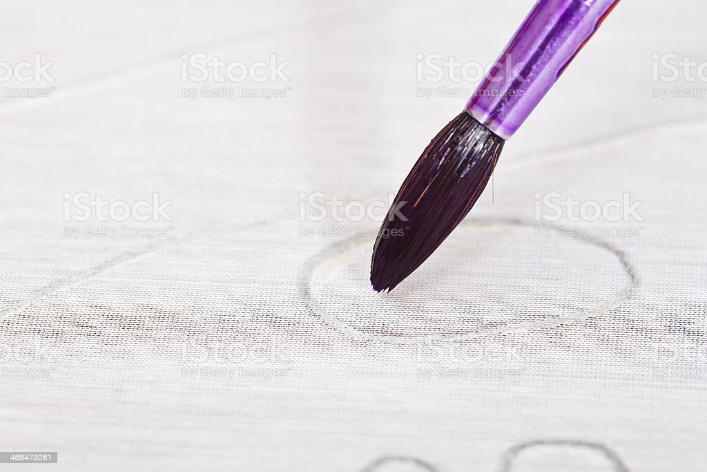 painting in contour on silk canvas royalty-free stock photo