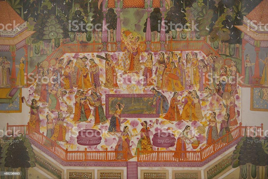 Painting in the Mehrangarh Fort of Jodhpur stock photo