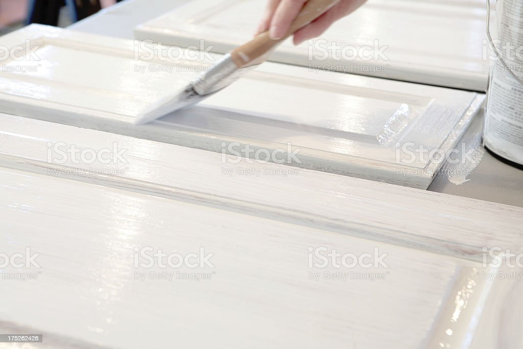 Painting Kitchen Cabinets stock photo