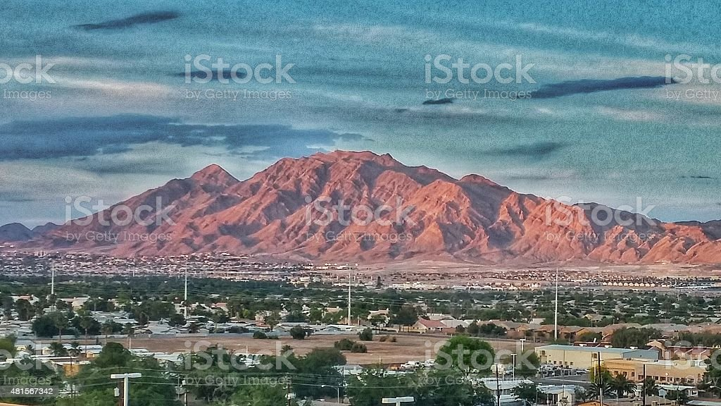 Painting Like Photograph of Las Vegas Outskirts and Mountains, Nevada stock photo