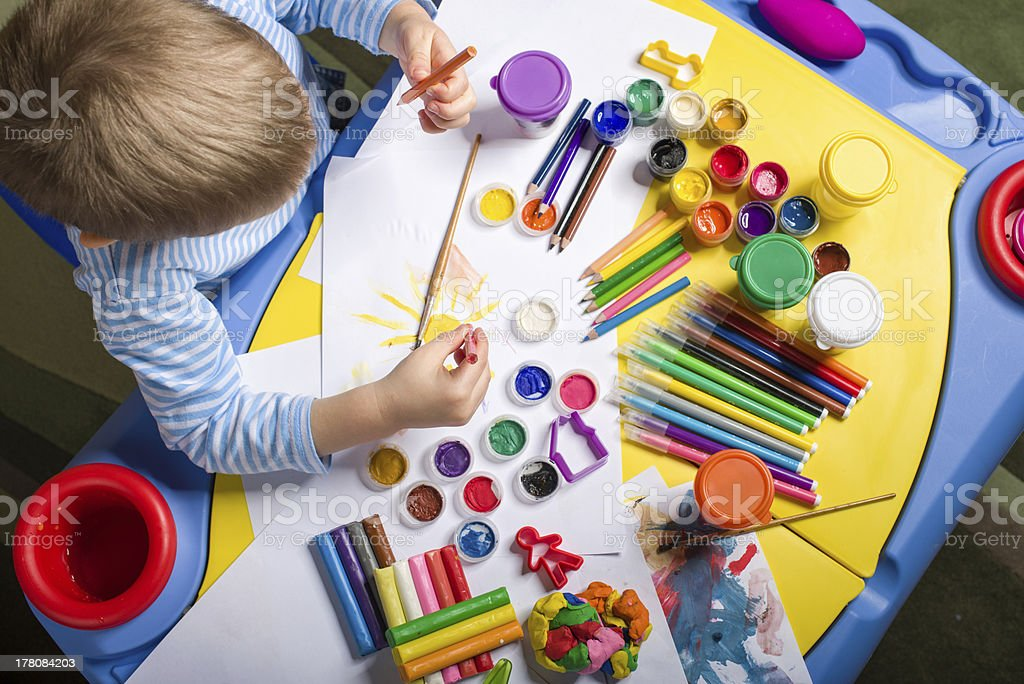 painting little boy stock photo