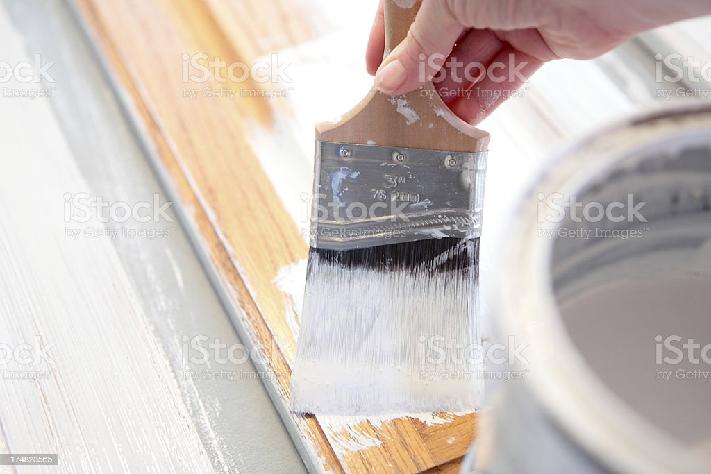 Painting Oak Cabinets royalty-free stock photo