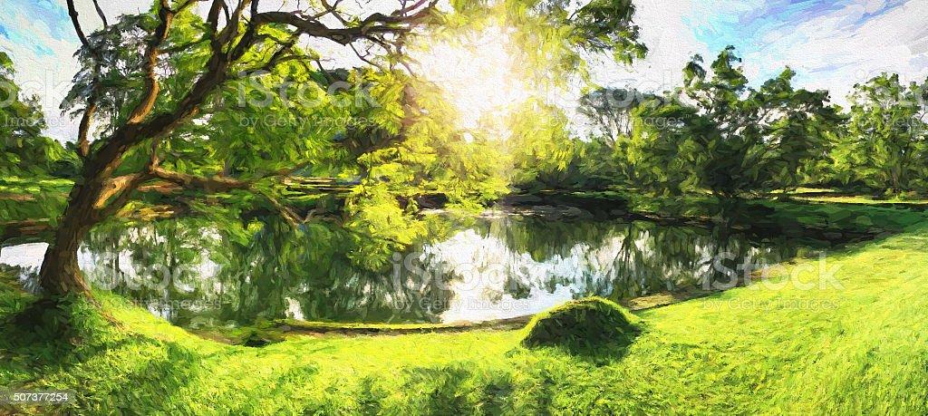 Painting of a Beautiful Sunny Day in Garden of Sigiriya stock photo