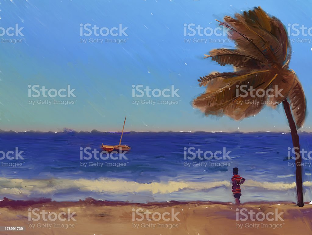 Painting of children playing on the beach at sunset sunrise stock photo