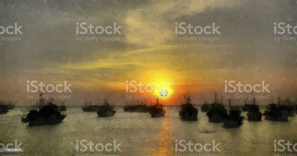 Painting of fishing boats at sunset royalty-free stock photo