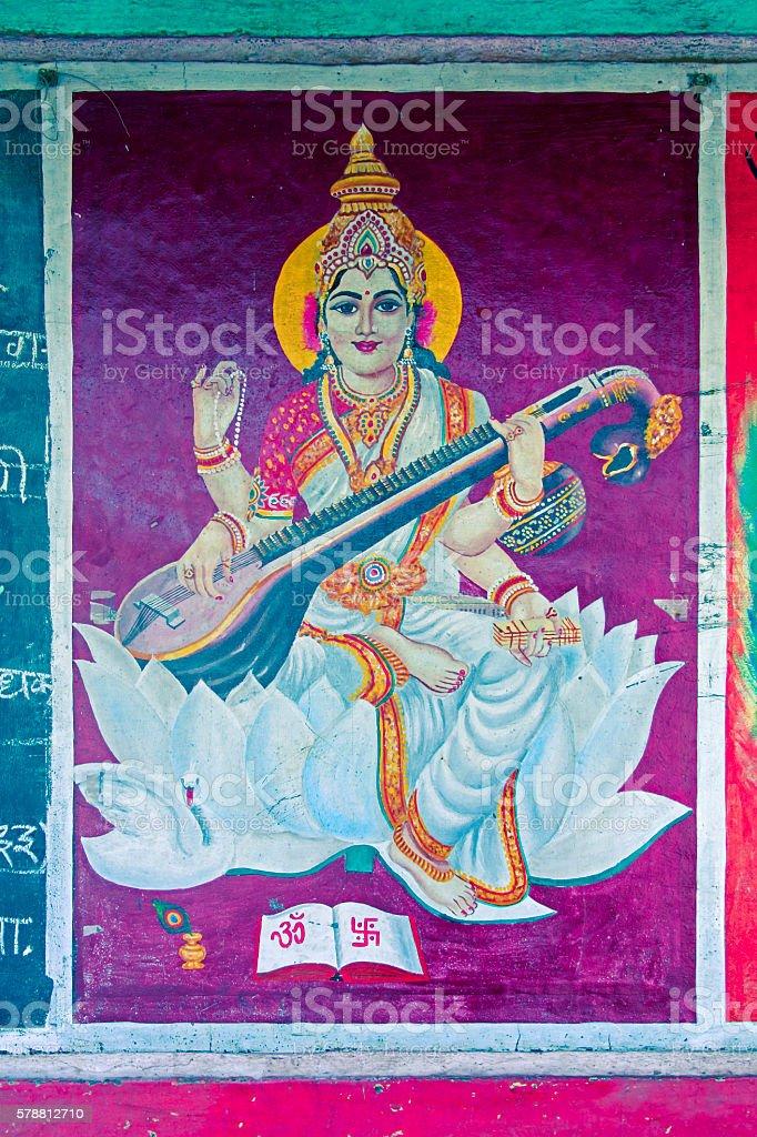 Painting of godess sarasvati stock photo