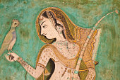 Painting of Indian Woman with bird