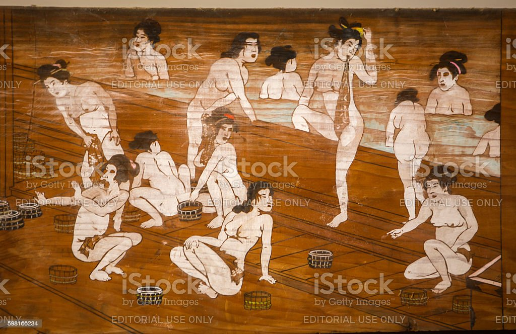 painting of japanese women in  bath at toei-studio kyoto japan stock photo