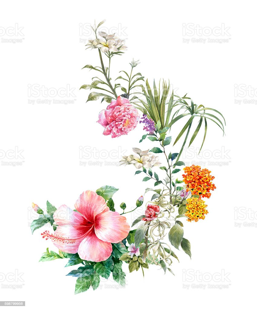 painting of leaves and flower stock photo