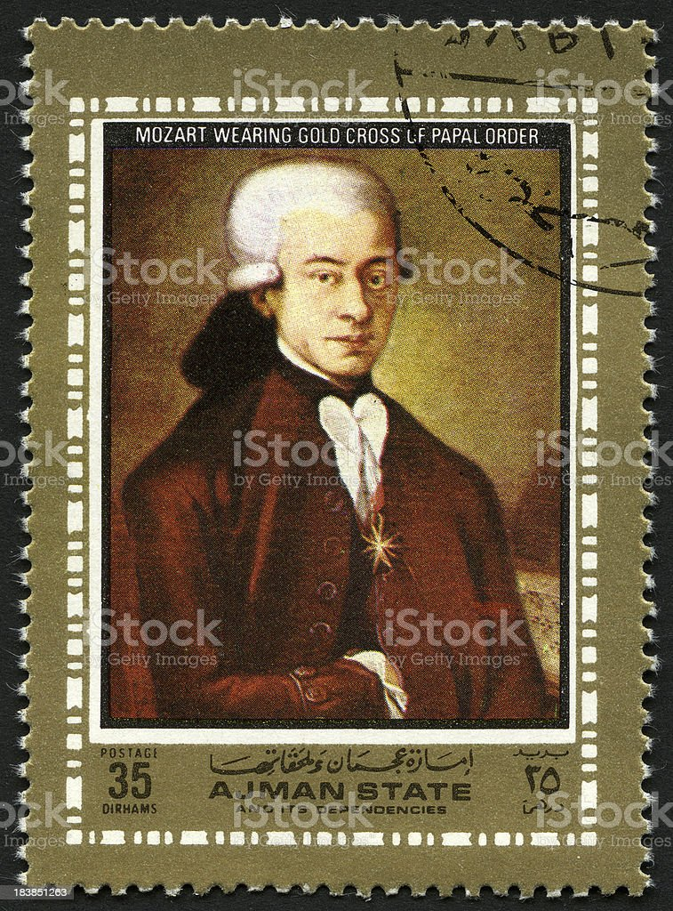 Painting of Mozart royalty-free stock photo