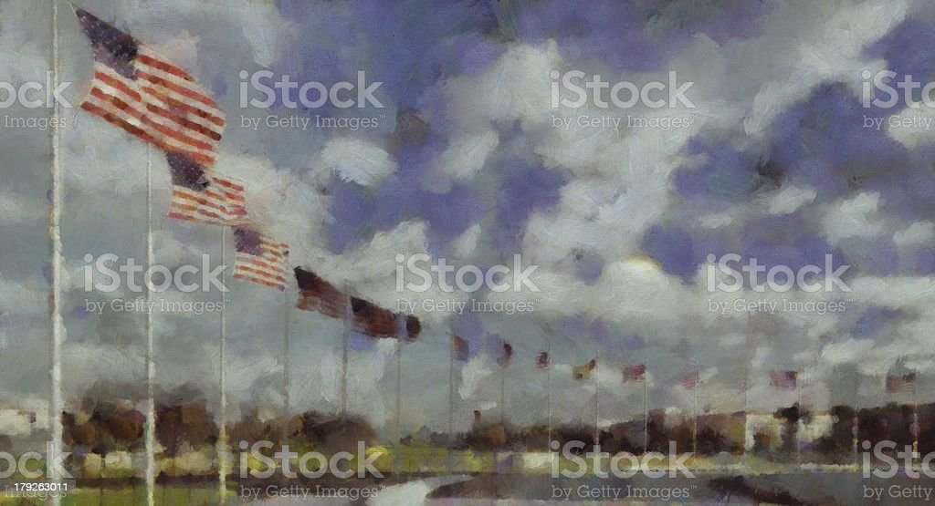 painting of munument flags in washington DC stock photo