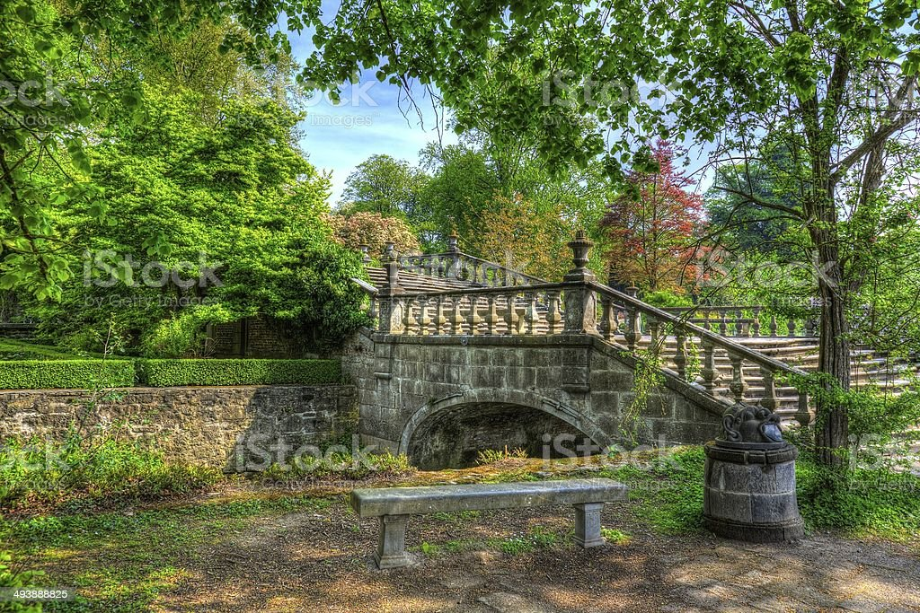 HDR 'painting' of small bridge over water stock photo