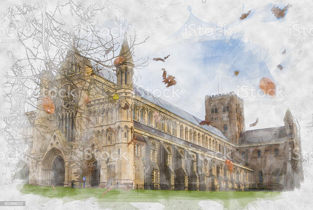 Painting of St Albans Abbey in the Autumn stock photo