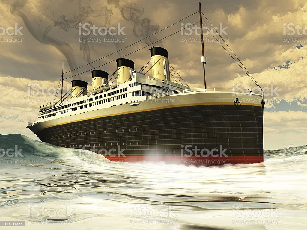 Painting of steamer ship in ocean waters stock photo