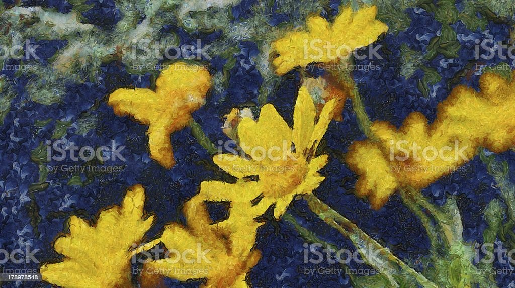 painting of yellow flowers royalty-free stock photo
