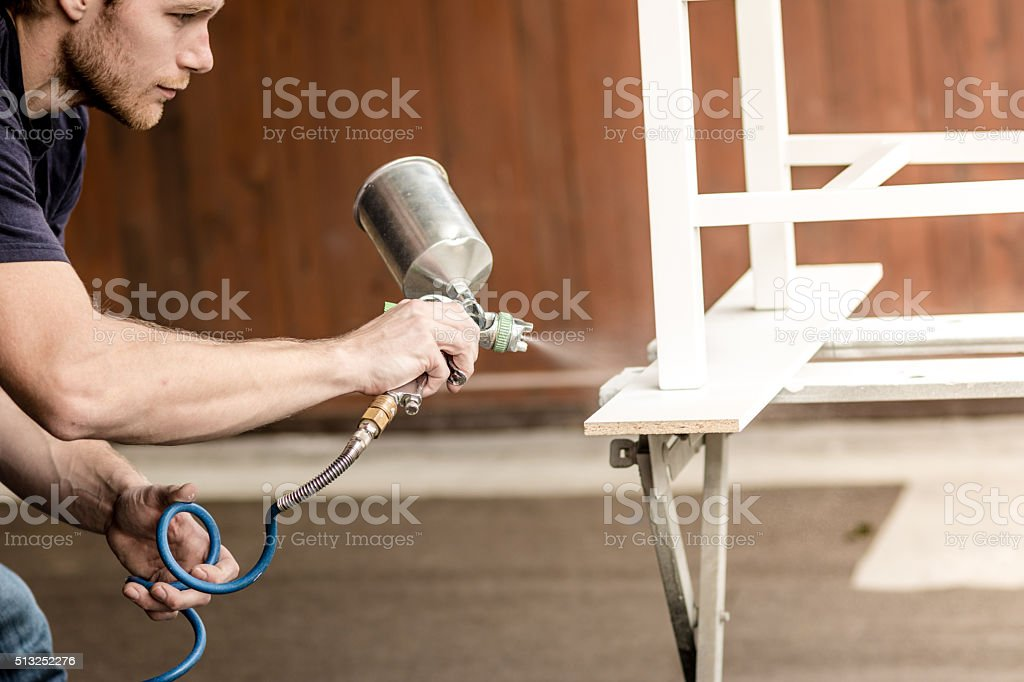 Painting product of wood stock photo