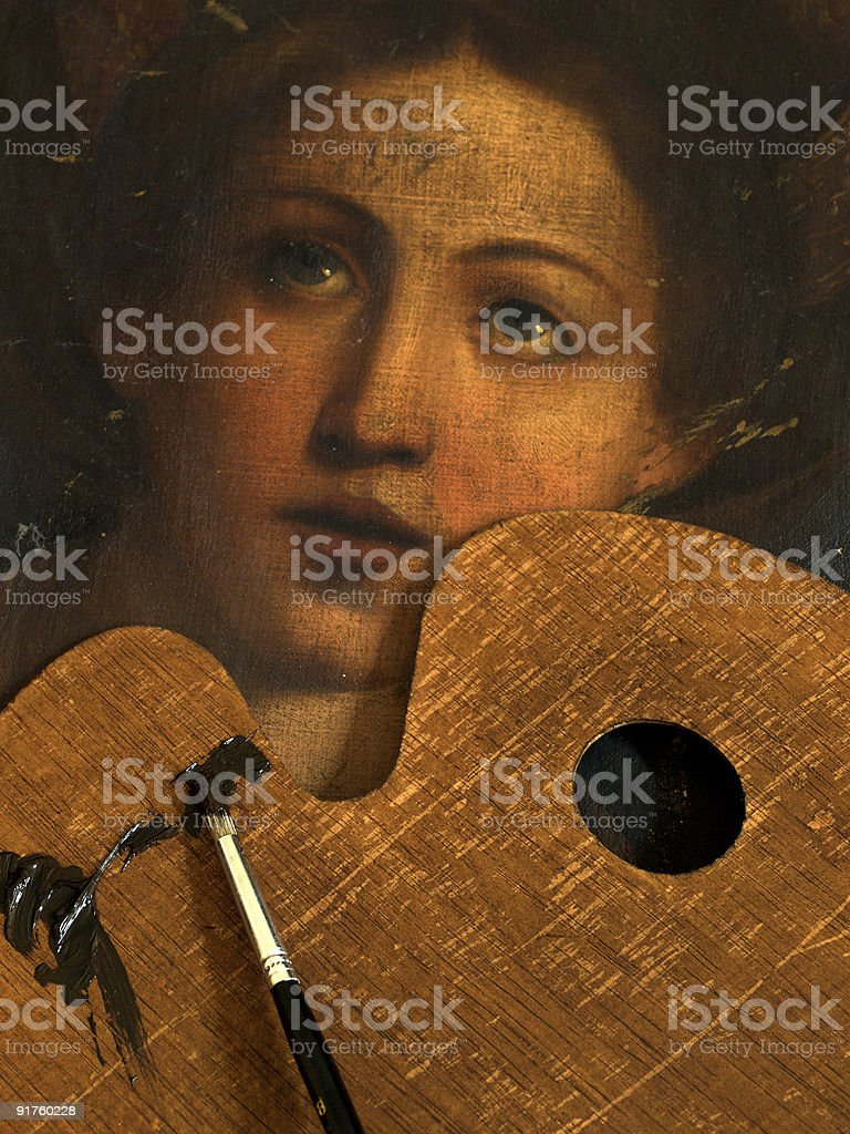 Painting restoration stock photo