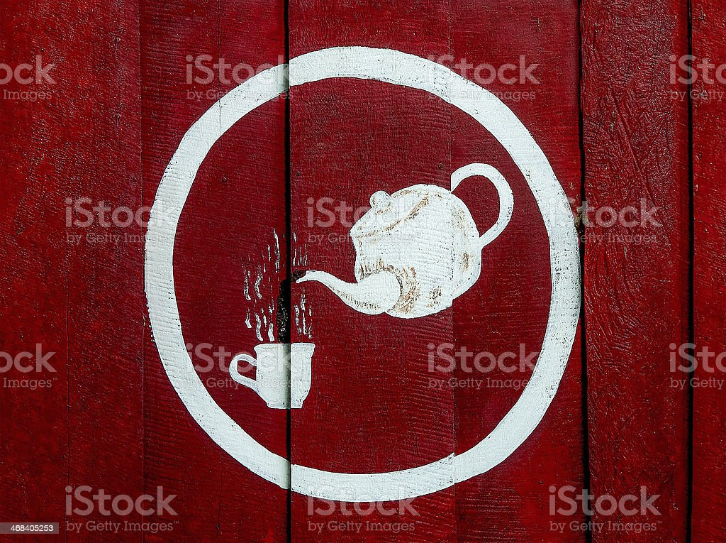 Painting sign hot coffee  on wood wall royalty-free stock photo