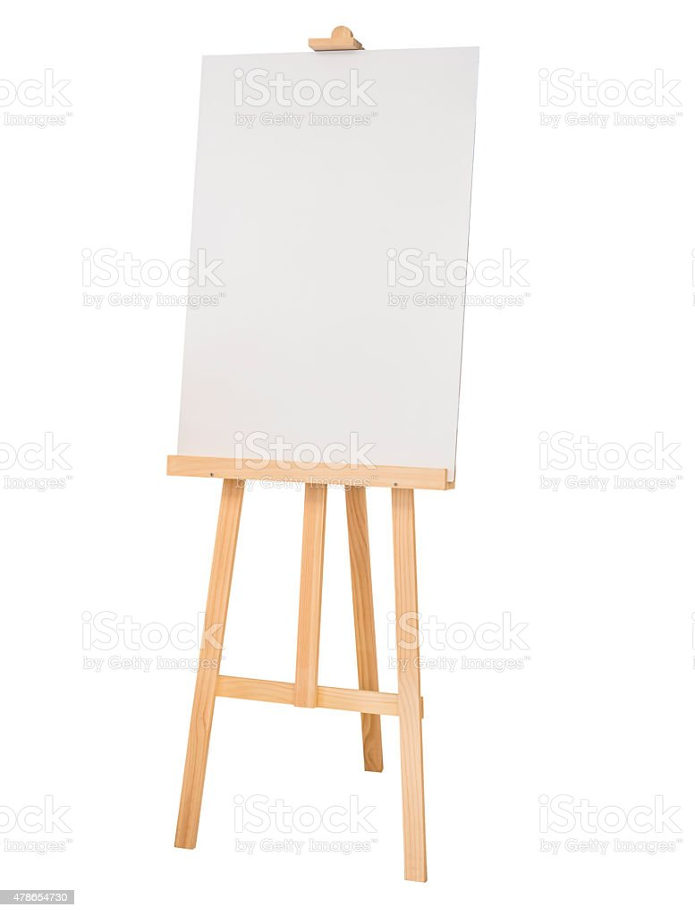 Painting stand wooden easel with blank canvas poster sign board stock photo