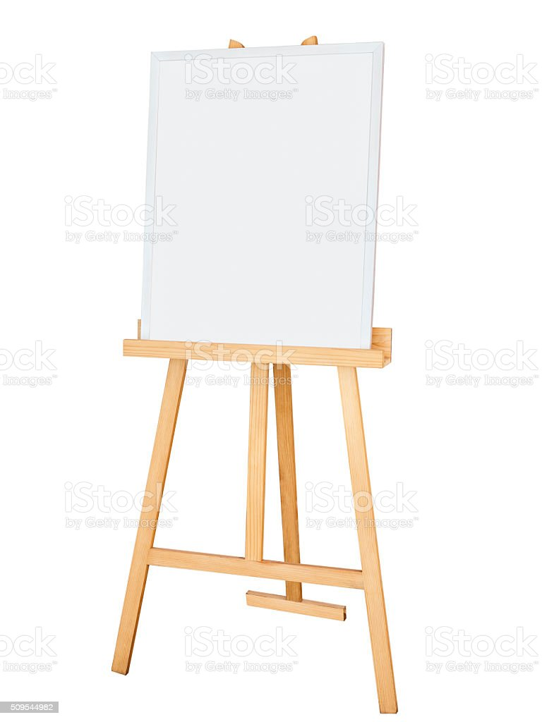Painting stand wooden easel with blank canvas poster signboard stock photo