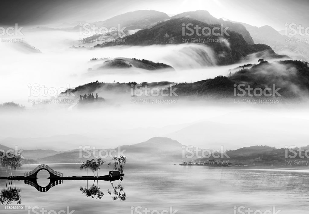 Painting style of chinese landscape stock photo