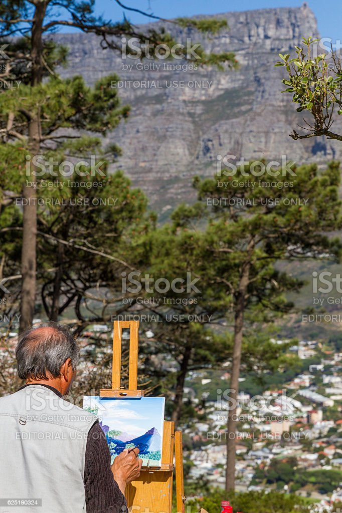 Painting Table Mountain stock photo