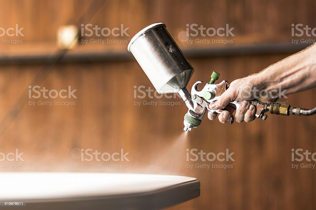 Painting table on white color stock photo