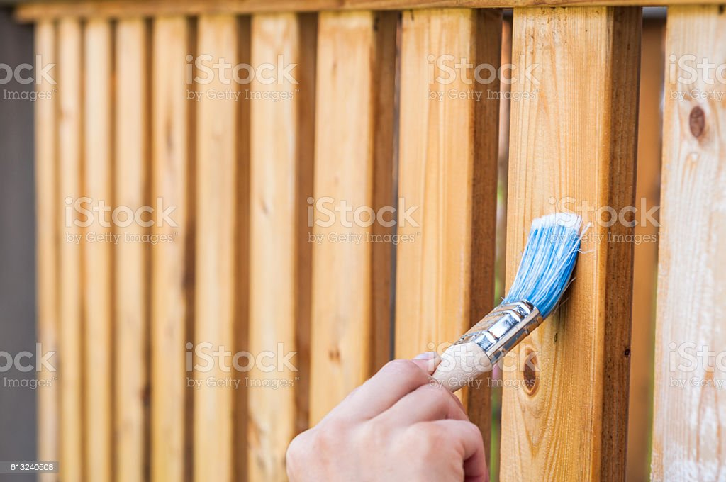 painting terrace railings stock photo