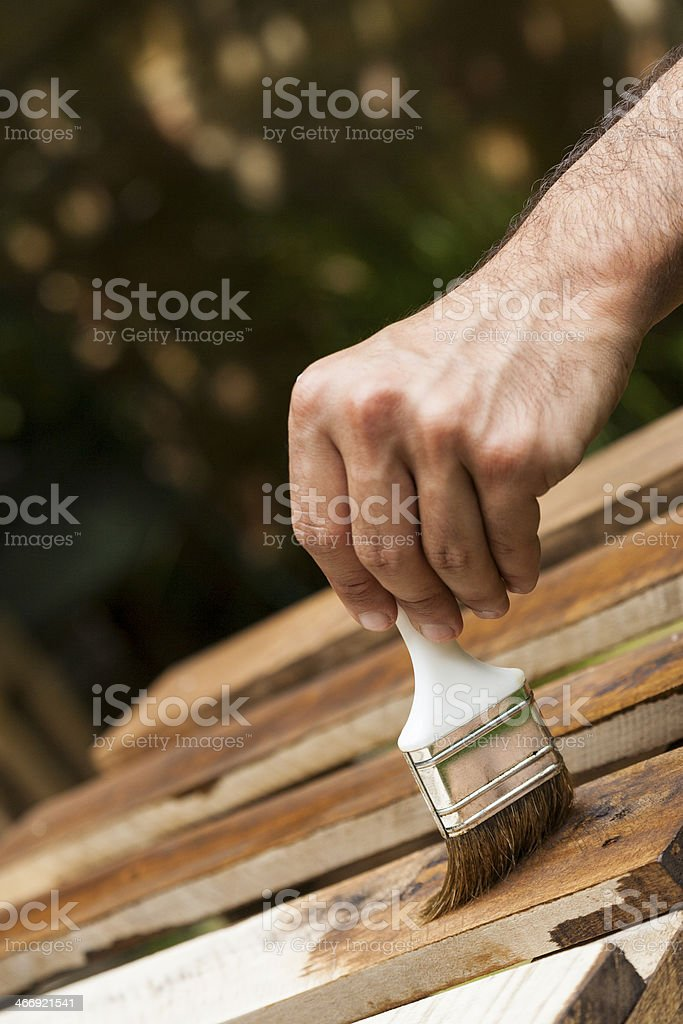 Painting the fence process royalty-free stock photo