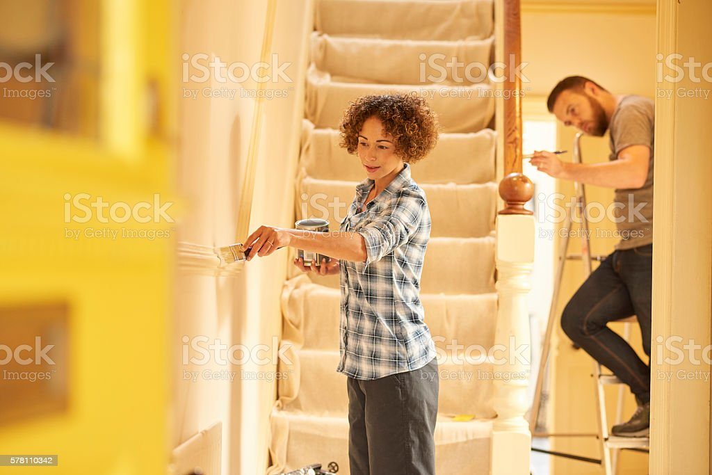 painting the hallway stock photo
