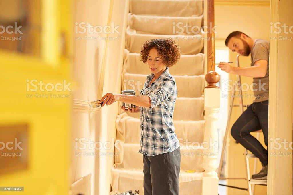 painting the hallway stock photo