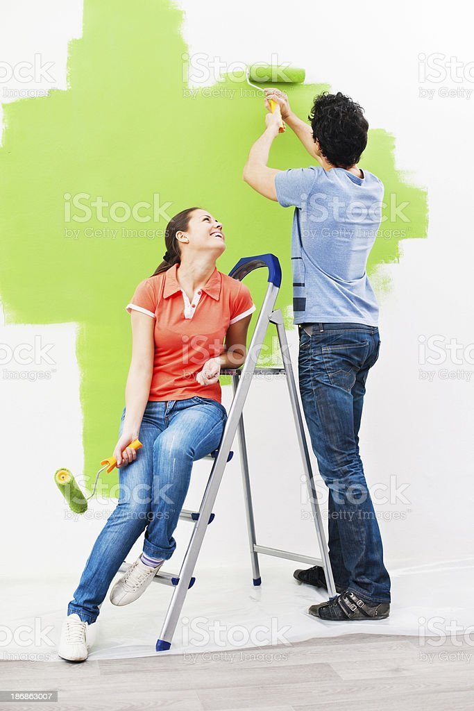 Painting together. royalty-free stock photo