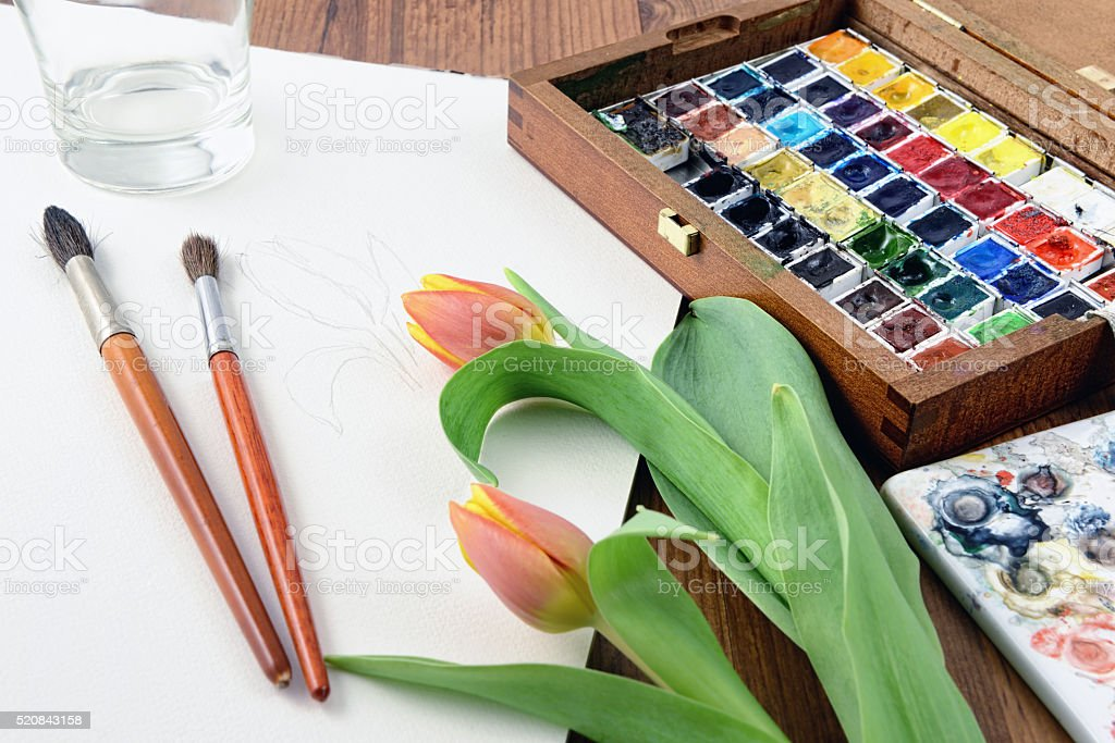 Painting tulip with water colours. paintbrusher aside stock photo