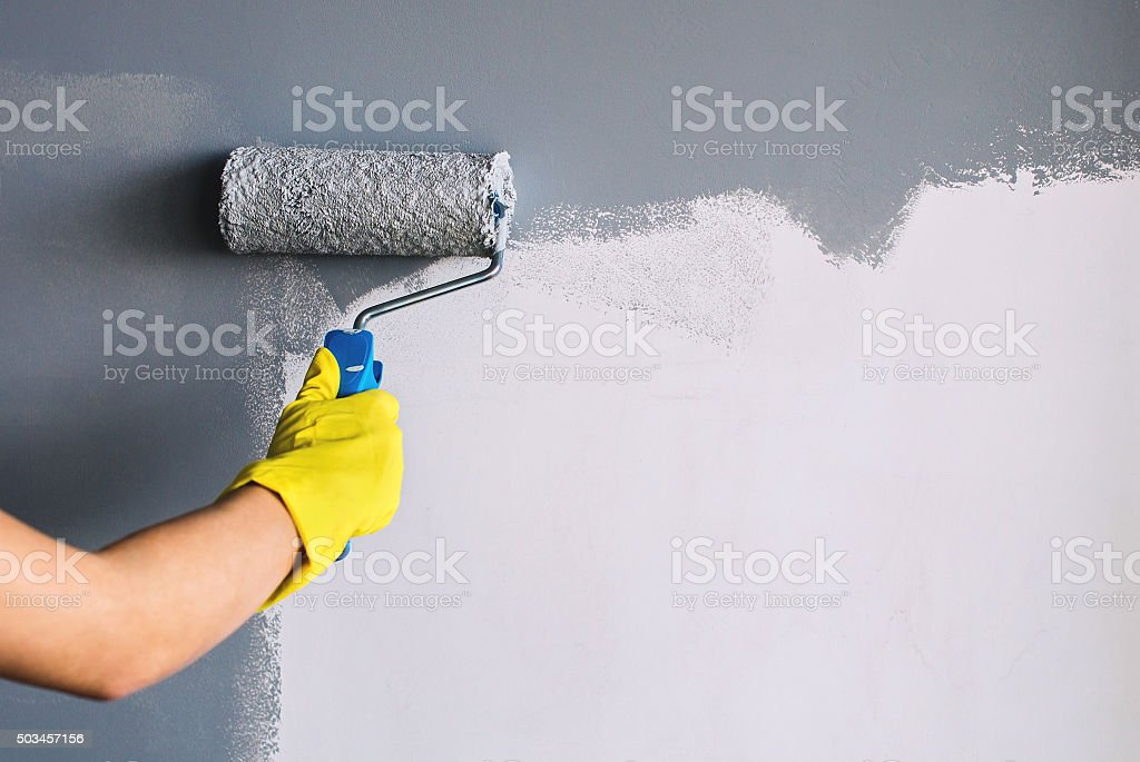Painting wall in gray stock photo