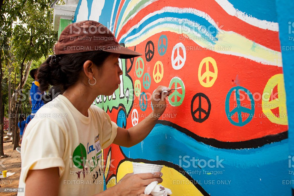 Painting wall with art royalty-free stock photo