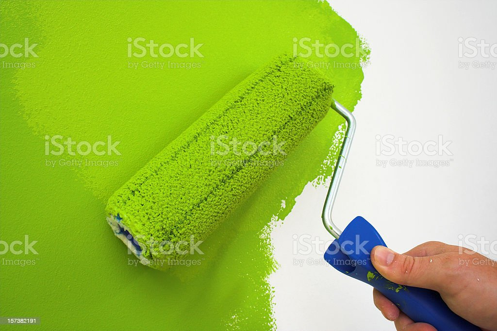 Painting wall with green royalty-free stock photo