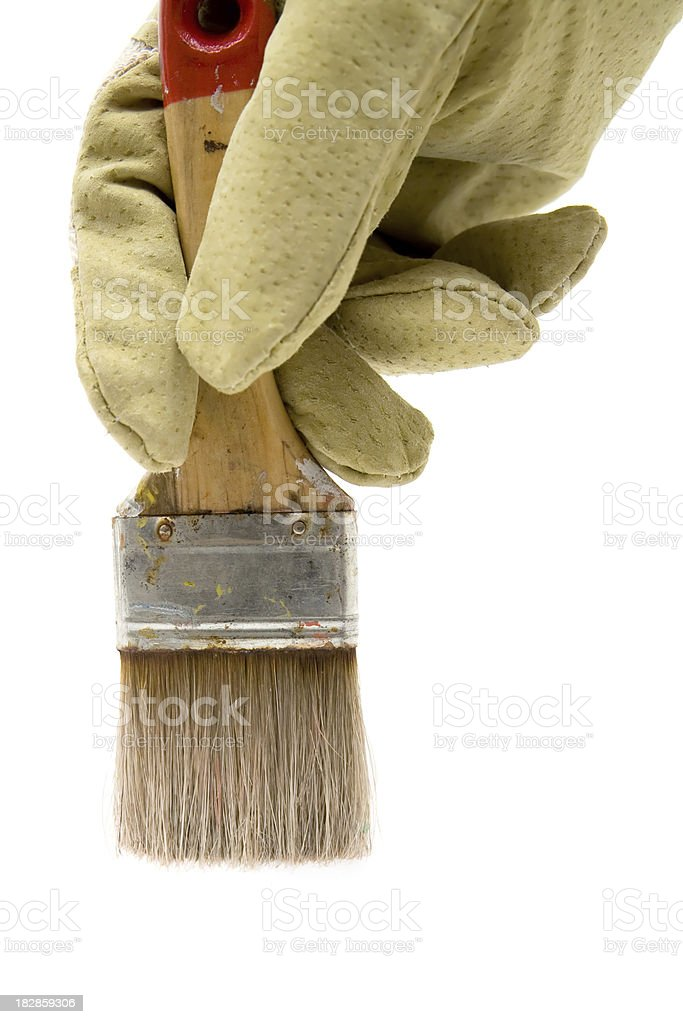 Painting with an Old Paintbrush royalty-free stock photo