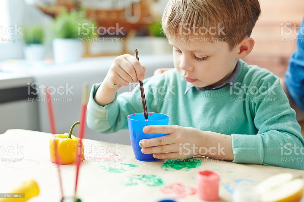 Painting with gouache stock photo