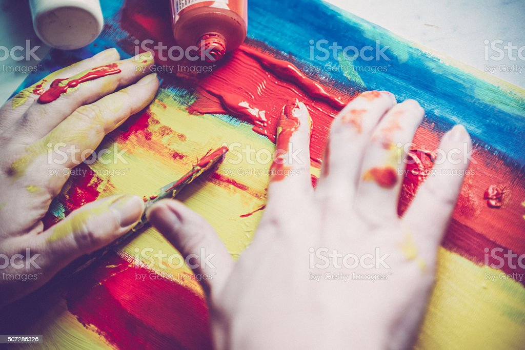 Painting with Hands stock photo