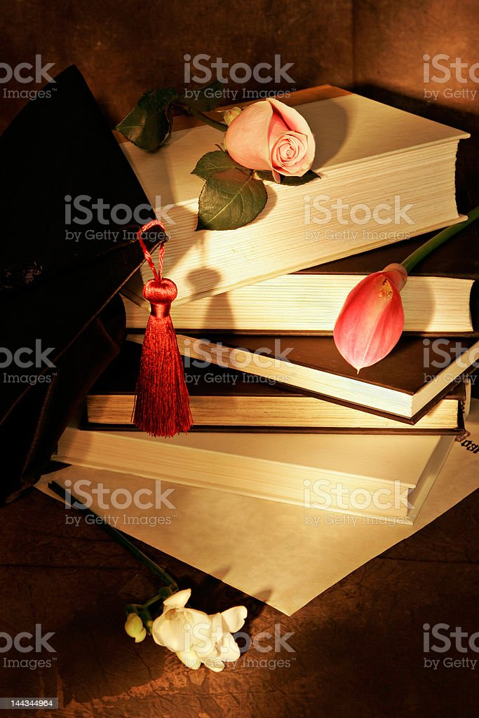 painting with light, books and flowers royalty-free stock photo