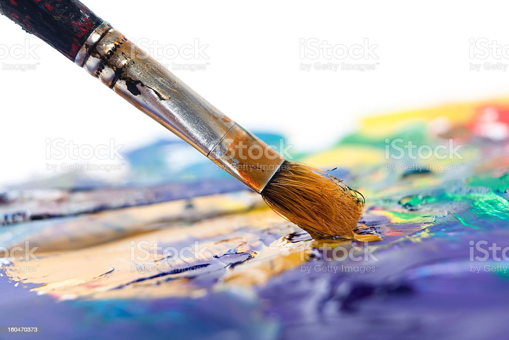 Painting with paintbrush stock photo