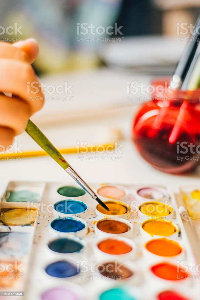 Painting with watercolor stock photo