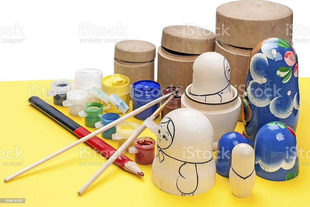 Painting wooden dolls royalty-free stock photo