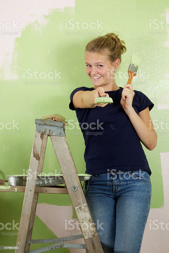 Painting Young Woman royalty-free stock photo