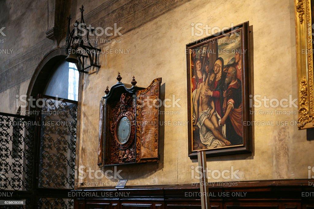 paintings in Basilica Santa Maria Gloriosa Frari stock photo