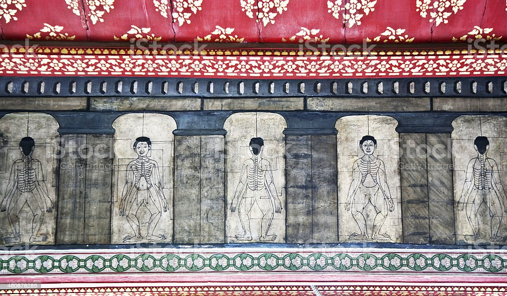 paintings in temple Wat Pho teach Acupuncture and fareast medici stock photo