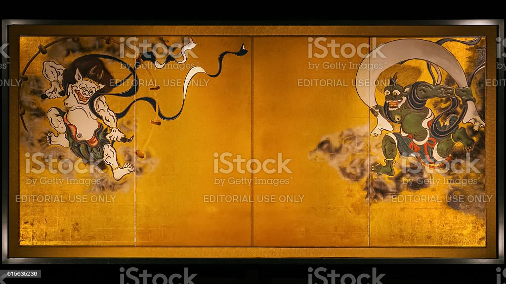 Paintings of Wind and Thunder Gods at Kenninji Temple stock photo