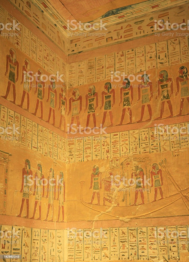 Paintings on the Pharoes tomb stock photo