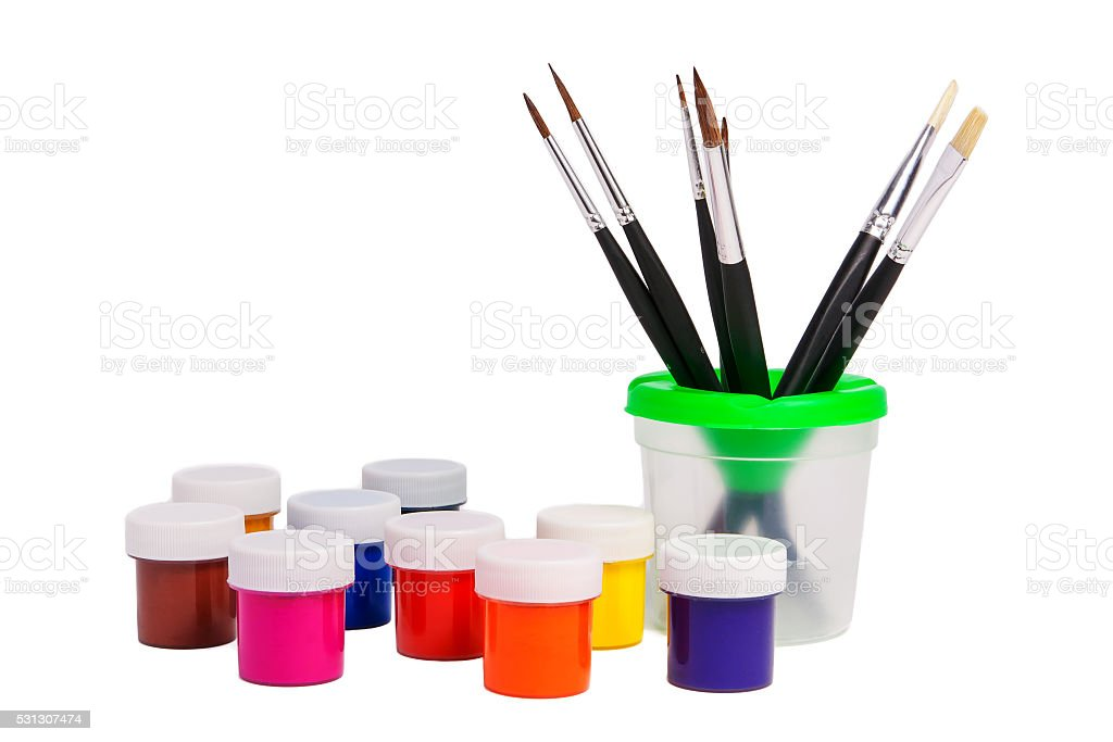 Paints and brushes. stock photo